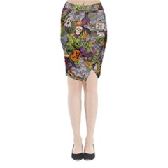 Halloween Pattern Midi Wrap Pencil Skirt