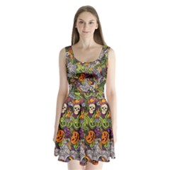 Halloween Pattern Split Back Mini Dress