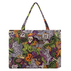 Halloween Pattern Zipper Medium Tote Bag