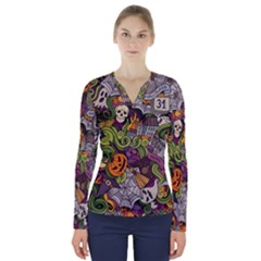 Halloween Pattern V Neck Long Sleeve Top