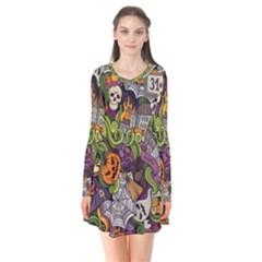 Halloween Pattern Flare Dress