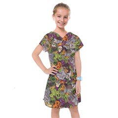 Halloween Pattern Kids  Drop Waist Dress