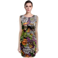 Halloween Pattern Sleeveless Velvet Midi Dress