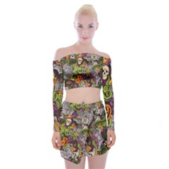 Halloween Pattern Off Shoulder Top With Skirt Set