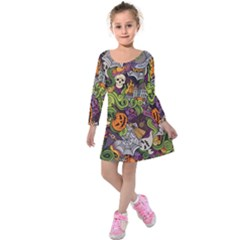 Halloween Pattern Kids  Long Sleeve Velvet Dress