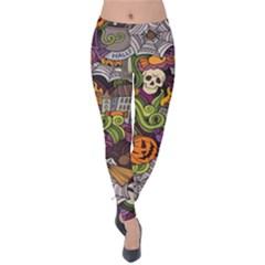 Halloween Pattern Velvet Leggings