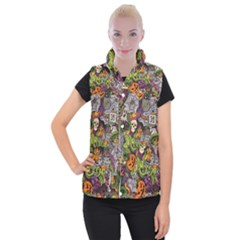 Halloween Pattern Women s Button Up Puffer Vest