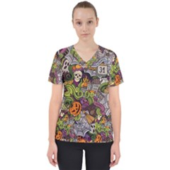 Halloween Pattern Scrub Top