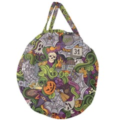 Halloween Pattern Giant Round Zipper Tote