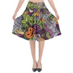 Halloween Pattern Flared Midi Skirt