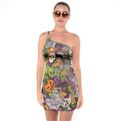 Halloween Pattern One Soulder Bodycon Dress