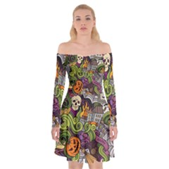Halloween Pattern Off Shoulder Skater Dress