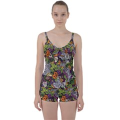 Halloween Pattern Tie Front Two Piece Tankini