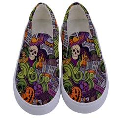 Halloween Pattern Kids  Canvas Slip Ons