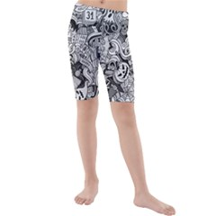 Halloween Pattern Kids  Mid Length Swim Shorts