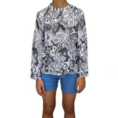 Halloween Pattern Kids  Long Sleeve Swimwear