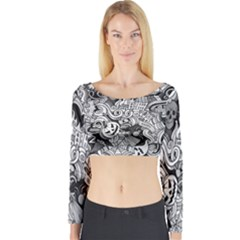 Halloween Pattern Long Sleeve Crop Top