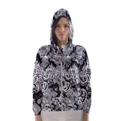 Halloween Pattern Hooded Wind Breaker (women)