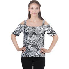 Halloween Pattern Cutout Shoulder Tee