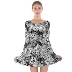Halloween Pattern Long Sleeve Skater Dress