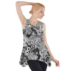 Halloween Pattern Side Drop Tank Tunic