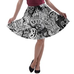 Halloween Pattern A Line Skater Skirt
