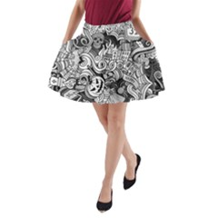 Halloween Pattern A Line Pocket Skirt