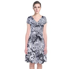 Halloween Pattern Short Sleeve Front Wrap Dress