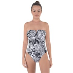 Halloween Pattern Tie Back One Piece Swimsuit