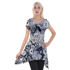 Halloween Pattern Short Sleeve Side Drop Tunic