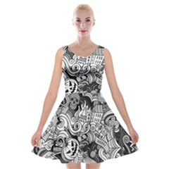 Halloween Pattern Velvet Skater Dress