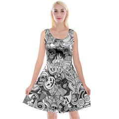 Halloween Pattern Reversible Velvet Sleeveless Dress