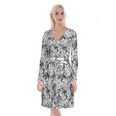 Halloween Pattern Long Sleeve Velvet Front Wrap Dress