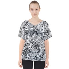 Halloween Pattern V Neck Dolman Drape Top