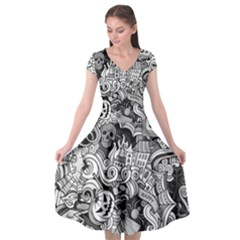 Halloween Pattern Cap Sleeve Wrap Front Dress