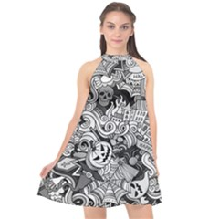 Halloween Pattern Halter Neckline Chiffon Dress