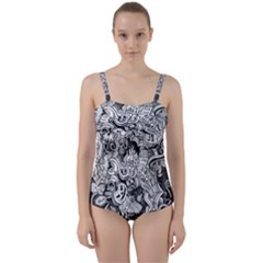 Halloween Pattern Twist Front Tankini Set