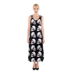 Halloween Skull Pattern Sleeveless Maxi Dress
