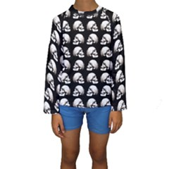 Halloween Skull Pattern Kids  Long Sleeve Swimwear
