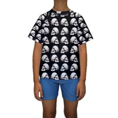 Halloween Skull Pattern Kids  Short Sleeve Swimwear
