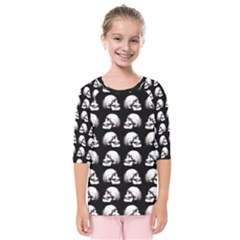 Halloween Skull Pattern Kids  Quarter Sleeve Raglan Tee