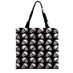 Halloween Skull Pattern Zipper Grocery Tote Bag