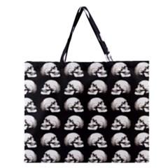 Halloween Skull Pattern Zipper Large Tote Bag