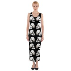 Halloween Skull Pattern Fitted Maxi Dress