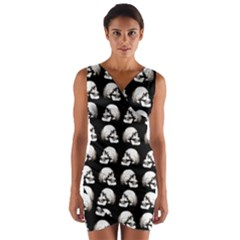 Halloween Skull Pattern Wrap Front Bodycon Dress