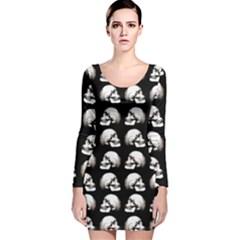 Halloween Skull Pattern Long Sleeve Velvet Bodycon Dress