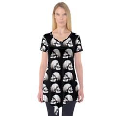 Halloween Skull Pattern Short Sleeve Tunic