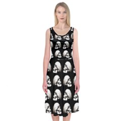 Halloween Skull Pattern Midi Sleeveless Dress