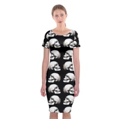 Halloween Skull Pattern Classic Short Sleeve Midi Dress