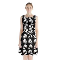 Halloween Skull Pattern Sleeveless Waist Tie Chiffon Dress